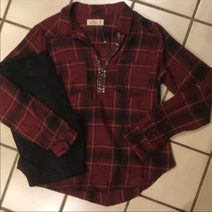 New Hollister beaded flannel
